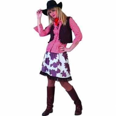 Cowboy blouse voor vrouwen rood wit carnavalskleding