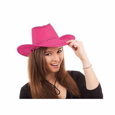 Cowboy hoed in roze kleurcarnavalskleding