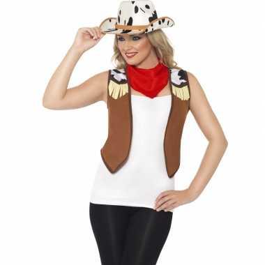 Cowboy verkleedaccessoires set voor damescarnavalskleding