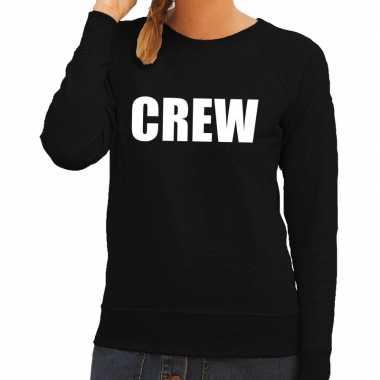 Crew tekst sweater / trui zwart voor damescarnavalskleding