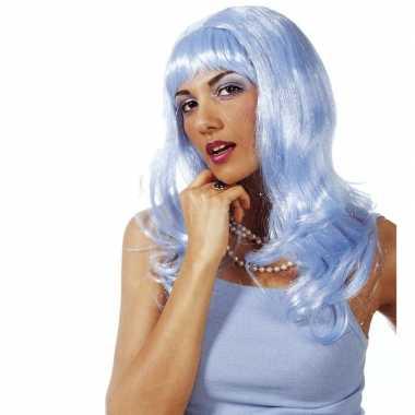 Dames glitterpruik lichtblauw lang met ponycarnavalskleding