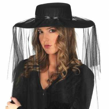 Dames hoeden met sluier zwartcarnavalskleding