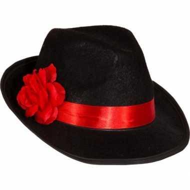 Dames maffia hoed met bloemcarnavalskleding