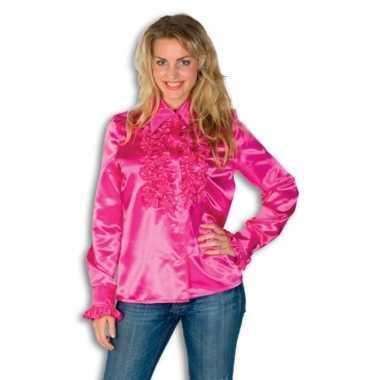 Dames overhemd roze met rouchescarnavalskleding