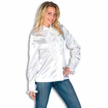Dames Overhemd.Dames Overhemd Wit Met Rouchescarnavalskleding Carnavalskleding In Nl