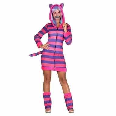 Dames verkleed outfit gestreepte katten/poezencarnavalskleding