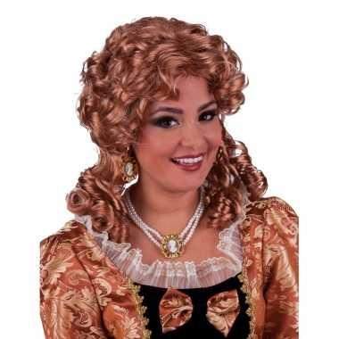 Damespruik barok met brons haarcarnavalskleding