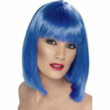 Damespruik blauw met ponycarnavalskleding
