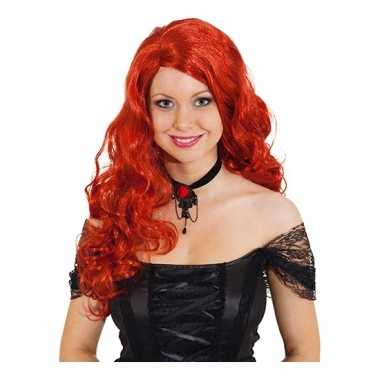 Damespruik met rood krullend haarcarnavalskleding