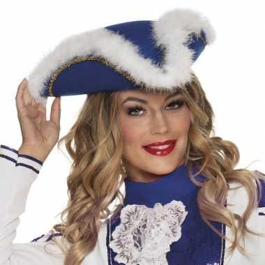 Dansmarieke hoedje blauw en witcarnavalskleding