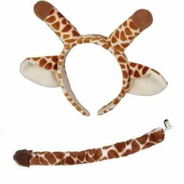 Dieren verkleed accessoire set giraffe voor kinderen carnavalskleding
