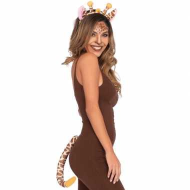 Dieren verkleedset giraffe 2-deligcarnavalskleding