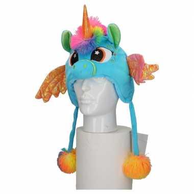 Dierenmuts eenhoorn voor kinderen blauw carnavalskleding