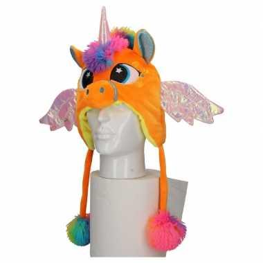 Dierenmuts eenhoorn voor kinderen oranje carnavalskleding