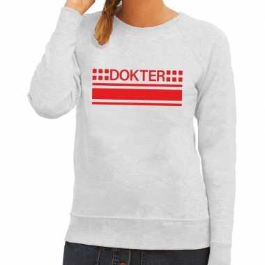Dokter logo sweater grijs voor damescarnavalskleding