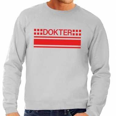 Dokter logo sweater grijs voor herencarnavalskleding