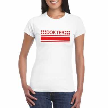 Dokter logo t-shirt wit voor damescarnavalskleding