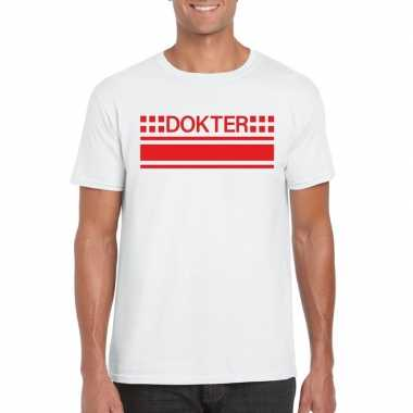 Dokter logo t-shirt wit voor herencarnavalskleding