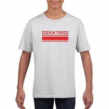 Dokter logo t-shirt wit voor kinderencarnavalskleding