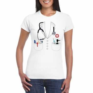 Doktersjas kostuum t-shirt wit voor damescarnavalskleding