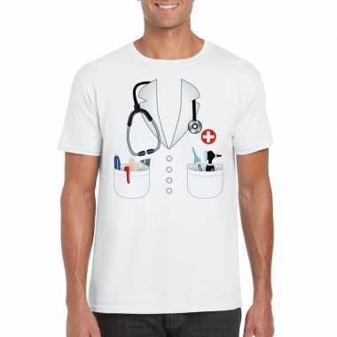 Doktersjas kostuum t-shirt wit voor herencarnavalskleding