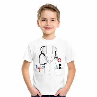 Doktersjas kostuum t-shirt wit voor kinderencarnavalskleding