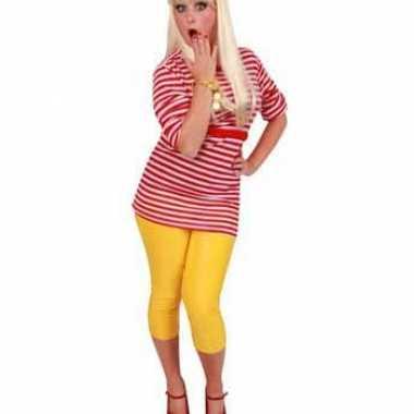 Dorus shirt rood met wit voor dames carnavalskleding