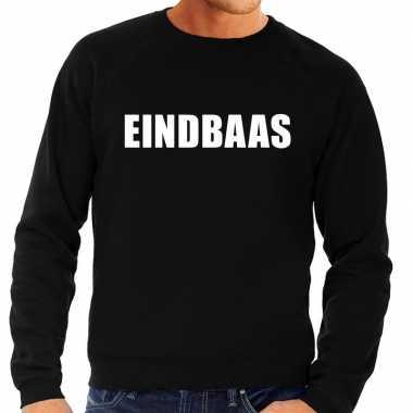 Eindbaas tekst sweater / trui zwart voor herencarnavalskleding