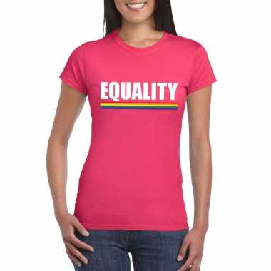 Equality shirt roze met regenboog vlag damescarnavalskleding