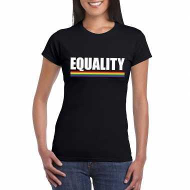 Equality shirt zwart met regenboog vlag damescarnavalskleding