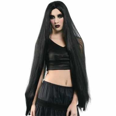 Extra lange dames pruik zwart carnavalskleding