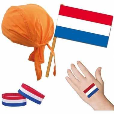 Fan artikelen set nederland thema voor volwassenencarnavalskleding