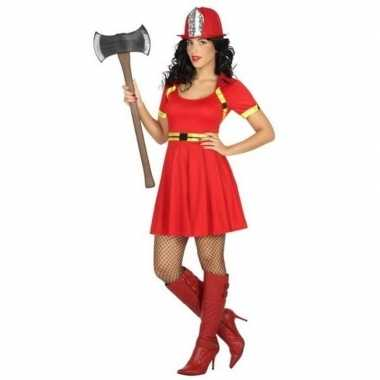 Feest/carnaval brandweer vrouwen verkleedoutfit jurkje voor damescarn