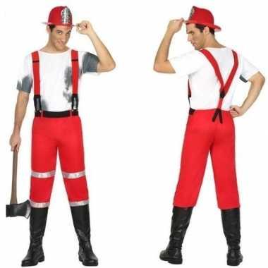 Feest/carnaval brandweermannen verkleedoutfit met bretels voor herenc