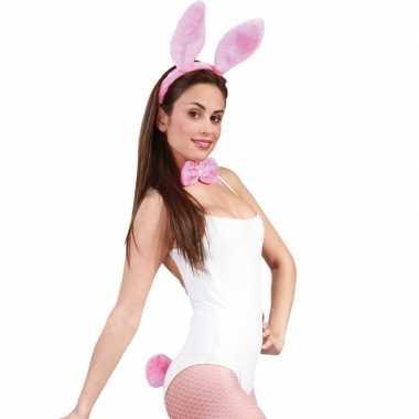 Feest carnaval bunnygirl konijnen hazen verkleedaccessoires set roze voor dames carnavalskleding