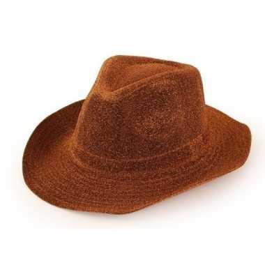 Feest cowboyhoed glitter koper bruin voor volwassenencarnavalskleding