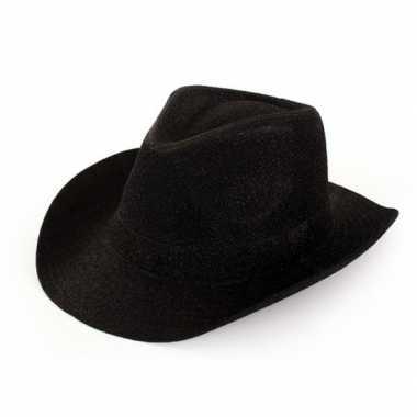 Feest cowboyhoed glitter zwart voor volwassenencarnavalskleding