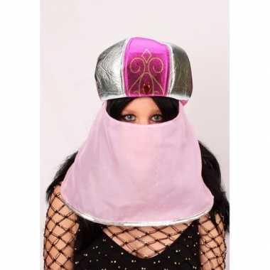 Feest hoed arabische stijl roze voor damescarnavalskleding