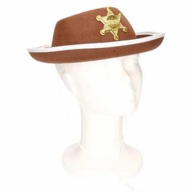 Feest sheriff hoedje bruin voor kinderencarnavalskleding