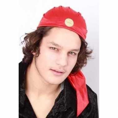 Feest zigeuner kapje rood met muntjes carnavalskleding