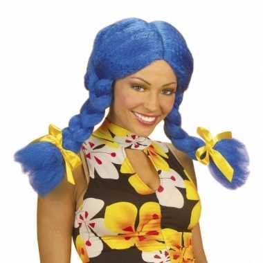 Fel gekleurde blauwe dolly pruikcarnavalskleding