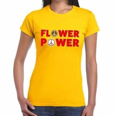 Flower power tekst t-shirt geel damescarnavalskleding