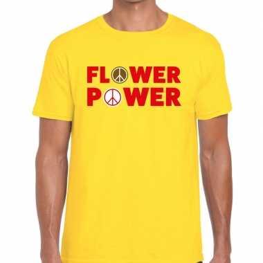 Flower power tekst t-shirt geel herencarnavalskleding