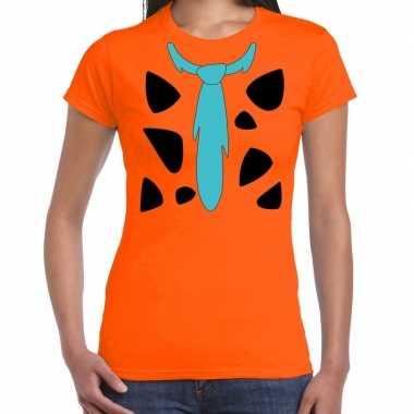 Fred holbewoner kostuum t-shirt oranje voor damescarnavalskleding