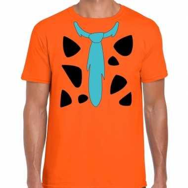 Fred holbewoner kostuum t-shirt oranje voor herencarnavalskleding