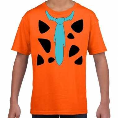 Fred holbewoner kostuum t-shirt oranje voor kinderen carnavalskleding