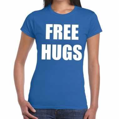 Free hugs tekst t-shirt blauw damescarnavalskleding