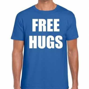 Free hugs tekst t-shirt blauw herencarnavalskleding