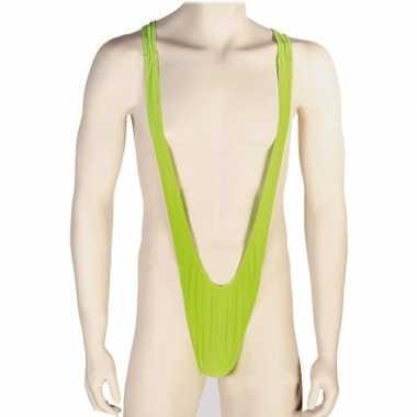 Funny outfit groene mankini voor herencarnavalskleding