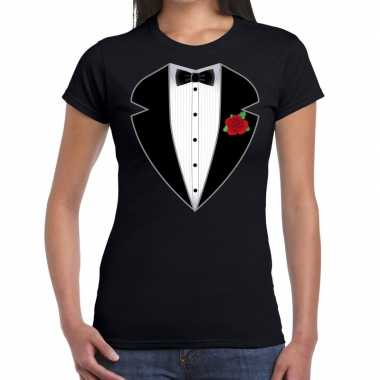 Gangster / maffia pak kostuum t-shirt zwart voor damescarnavalskledin